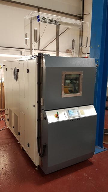 a medium size test chamber approx. 1.5m wide, 2m tall and 4 m deep