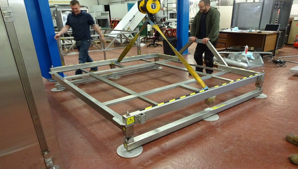 aluminium framework that will form the base of a test chamber
